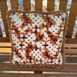 Vintage 70s Crotchet Granny Square Pillow Fall